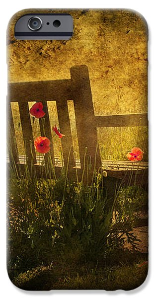 Empty Bench and Poppies iPhone Case by Svetlana Sewell