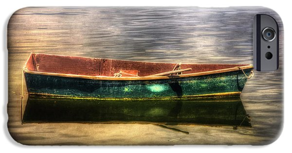 Boats In Water iPhone Cases - Empty Docked Rowboat iPhone Case by Joann Vitali