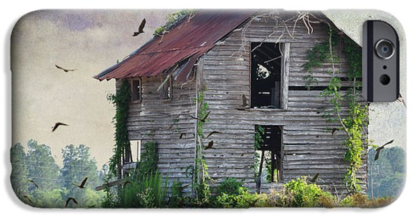 Rural Decay Digital Art iPhone Cases - Empty Spaces iPhone Case by Jan Amiss Photography