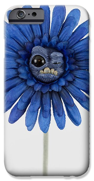 Child Sculptures iPhone Cases - Enchanted Blue weird flower iPhone Case by Voodoo Delicious