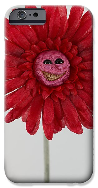 Petals Sculptures iPhone Cases - Enchanted Flower smiley iPhone Case by Michael Palmer