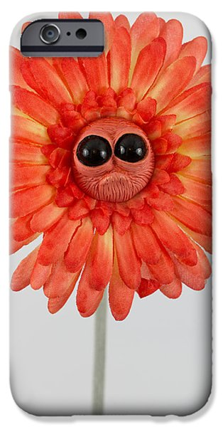 Child Sculptures iPhone Cases - Enchanted orange worried flower iPhone Case by Voodoo Delicious