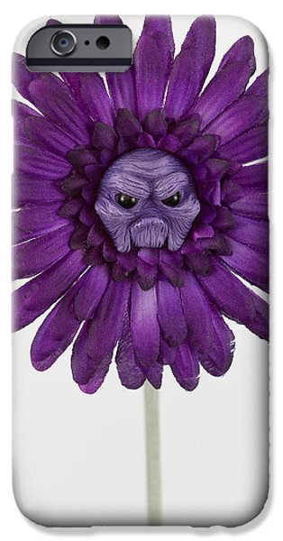 Child Sculptures iPhone Cases - Enchanted purple flower grumpy iPhone Case by Voodoo Delicious