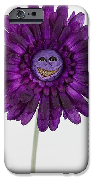 Child Sculptures iPhone Cases - Enchanted purple happy flower iPhone Case by Voodoo Delicious