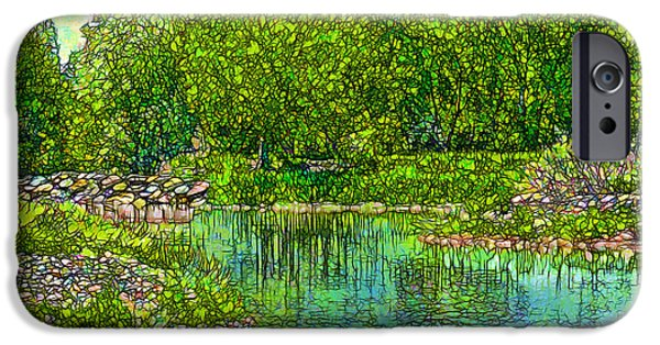 Mystical Landscape Mixed Media iPhone Cases - Enchanted Reflection Pond iPhone Case by Joel Bruce Wallach
