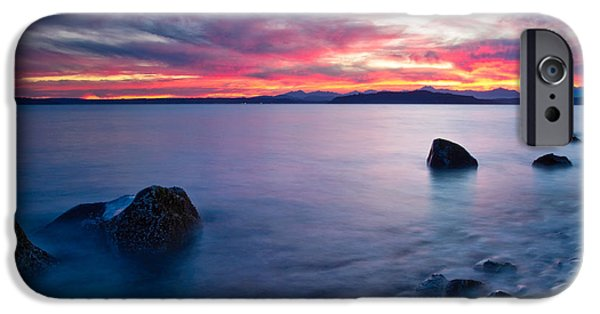 Beach At Night iPhone Cases - End of day at Alki Beach iPhone Case by Dan Mihai