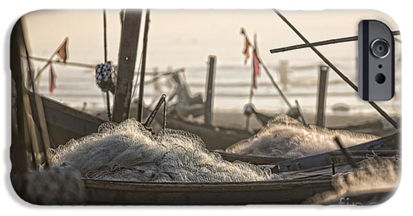 Boat iPhone Cases - End of Day Fishing Nam Dinh iPhone Case by Chuck Kuhn