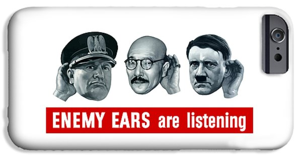 Power iPhone Cases - Enemy Ears Are Listening iPhone Case by War Is Hell Store