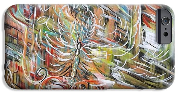 Nature Abstract Tapestries - Textiles iPhone Cases - Energy iPhone Case by Agnes BARRAUD