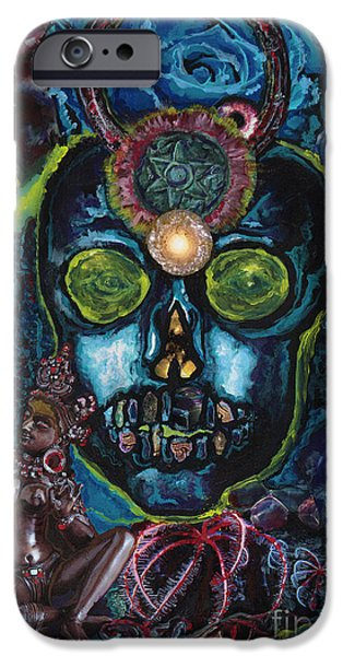 Third Eye Paintings iPhone Cases - Energy Self Portrait iPhone Case by Emily McLaughlin