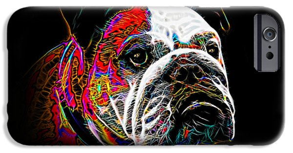 Red Abstract iPhone Cases - English Bulldog iPhone Case by Alexey Bazhan