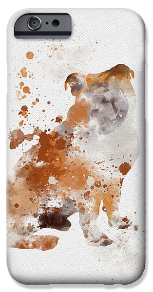 Canine Mixed Media iPhone Cases - English Bulldog iPhone Case by Rebecca Jenkins