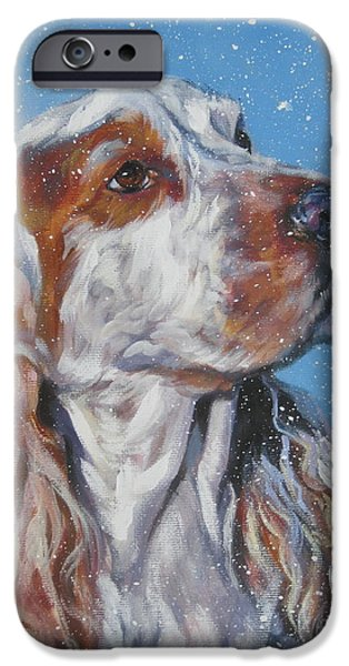 Cocker Spaniel Paintings iPhone Cases - English Cocker Spaniel in snow iPhone Case by Lee Ann Shepard