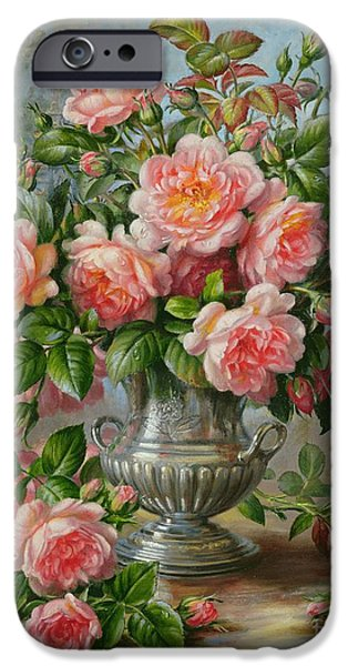 Pink Roses iPhone Cases - English Elegance Roses in a Silver Vase iPhone Case by Albert Williams