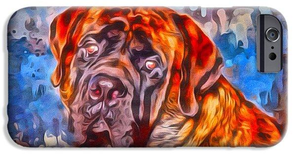 Digital Designs iPhone Cases - English Mastiff Portrait 2 iPhone Case by Scott Wallace