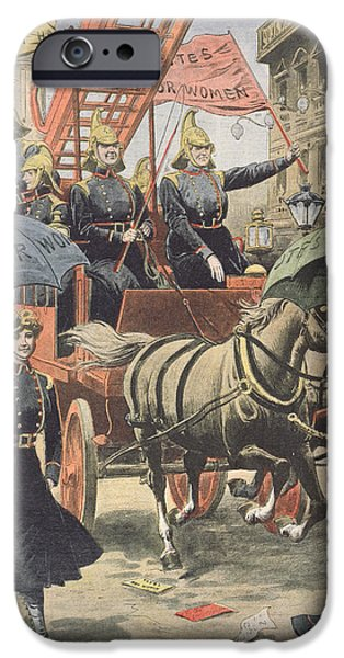 Police iPhone Cases - English suffragettes dressed as firemen iPhone Case by French School