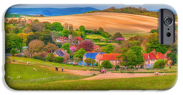 The Horse iPhone Cases - English Village In Spring Time iPhone Case by Susan Dost