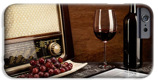 Multimedia iPhone Cases - Enjoying wine with old music and modern technology iPhone Case by Wolfgang Steiner