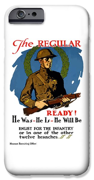 Wwi iPhone Cases - The Regular - Enlist For The Infantry iPhone Case by War Is Hell Store