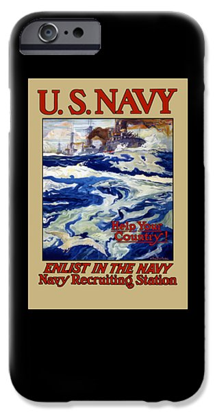 Navy iPhone Cases - Enlist In The Navy - For Libertys Sake iPhone Case by War Is Hell Store