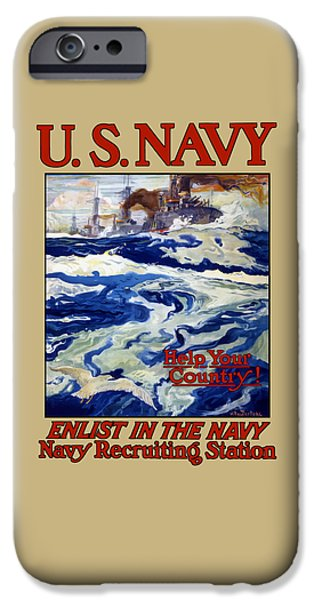 Sea Mixed Media iPhone Cases - Enlist In The Navy iPhone Case by War Is Hell Store