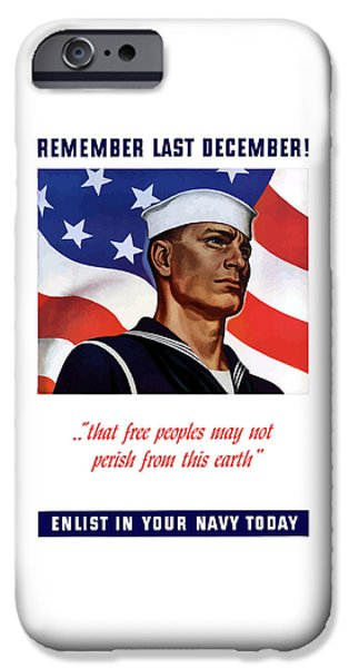 Enlist In Your Navy Today iPhone Case by War Is Hell Store