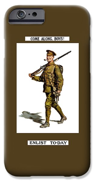 Historic England iPhone Cases - Enlist To-Day - World War 1 iPhone Case by War Is Hell Store