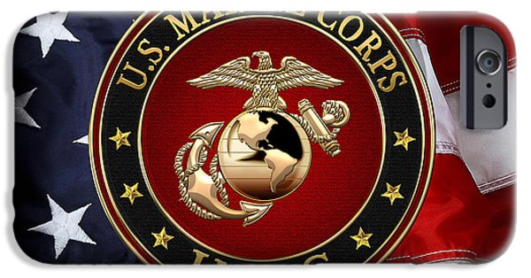 Marine Corps Digital iPhone Cases - Enlisted EGA Device Special Edition over American Flag  iPhone Case by Serge Averbukh