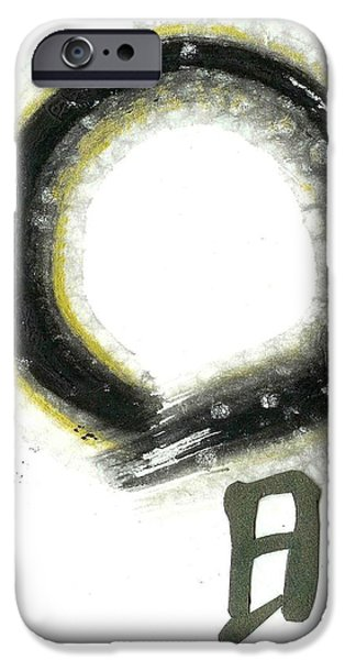 The Universe Paintings iPhone Cases - Enso Enlightment iPhone Case by Ellen Miffitt