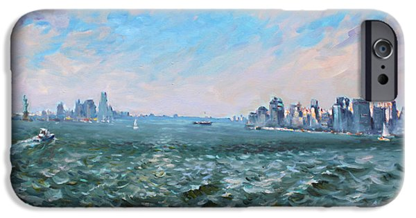 Statue Of Liberty Paintings iPhone Cases - Entering in New York Harbor iPhone Case by Ylli Haruni