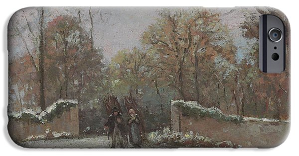 Camille Pissarro iPhone Cases - Entering the Forest of Marly iPhone Case by Camille Pissarro