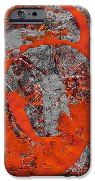 Abstract Digital Mixed Media iPhone Cases - Entering the Red iPhone Case by Laura L Leatherwood