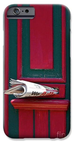 Entrance door and newspaper iPhone Case by Heiko Koehrer-Wagner
