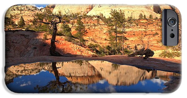 Zion Park iPhone Cases - Ephemeral Reflections iPhone Case by Adam Jewell