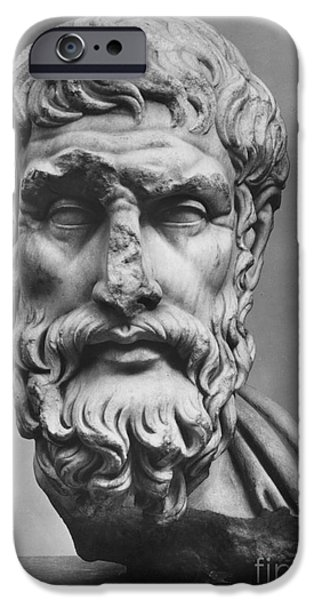 Statue Portrait iPhone Cases - Epicurus (342?-270 B.c.) iPhone Case by Granger