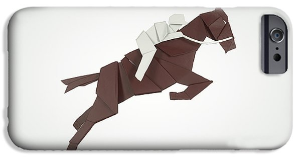 Sports Sculptures iPhone Cases - Equestrian Jumping iPhone Case by Richard Seanor