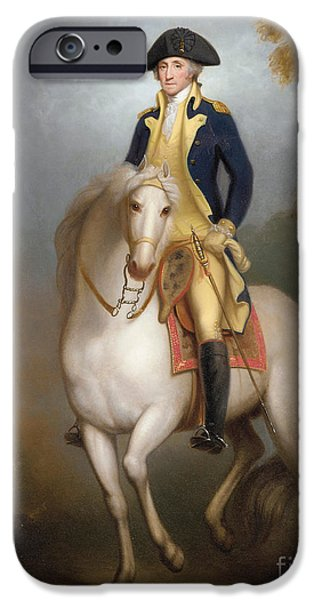 George Washington iPhone Cases - Equestrian portrait of George Washington iPhone Case by Rembrandt Peale