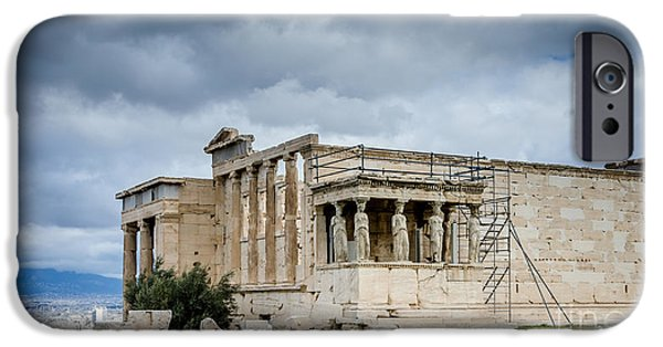 Ruin iPhone Cases - Erechtheion - Porch of the Maidens iPhone Case by Debra Martz