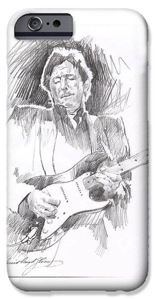 Celebrity Drawings iPhone Cases - Eric Clapton Blackie iPhone Case by David Lloyd Glover