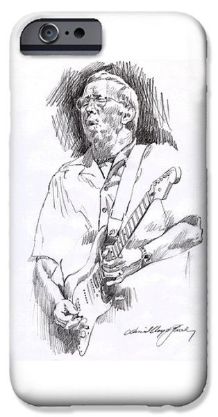 Celebrity Drawings iPhone Cases - Eric Clapton Blue iPhone Case by David Lloyd Glover
