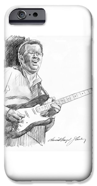 Icons Drawings iPhone Cases - Eric Clapton Jam iPhone Case by David Lloyd Glover