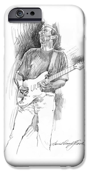 Celebrity Drawings iPhone Cases - Eric Clapton Strat iPhone Case by David Lloyd Glover