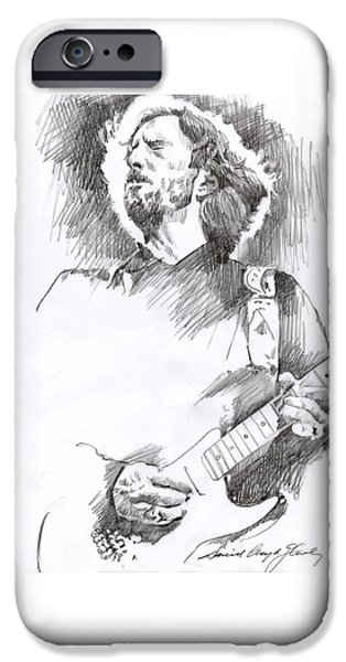 Celebrity Drawings iPhone Cases - Eric Clapton Sustains iPhone Case by David Lloyd Glover