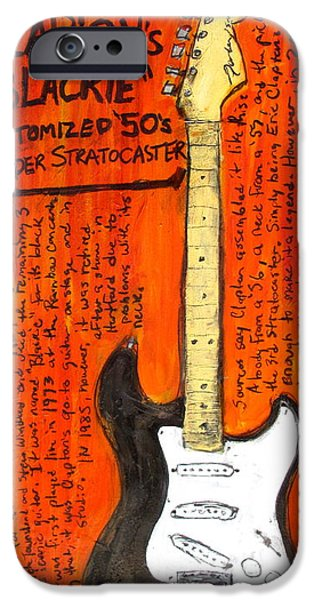 Guitar Paintings iPhone Cases - Eric Claptons Stratocaster Blackie iPhone Case by Karl Haglund