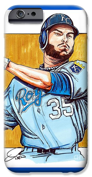 Mlb Drawings iPhone Cases - Eric Hosmer of the Kansas City Royals iPhone Case by Dave Olsen
