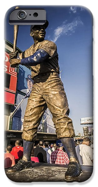 Chicago Cubs iPhone Cases - Erine Banks sculpture in the setting sun before a game iPhone Case by Sven Brogren
