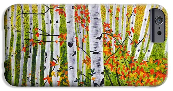 Fauna iPhone Cases - Erins Birch Trees iPhone Case by Vivian Stearns-Kohler