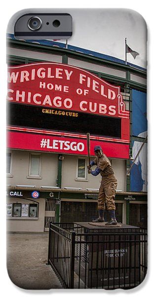 Baseball Stadiums iPhone Cases - Ernie Banks Wrigley Field iPhone Case by Mike Burgquist
