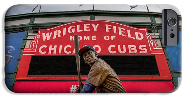Baseball Stadiums iPhone Cases - Ernie Banks Statue at Wrigley Field iPhone Case by Mike Burgquist