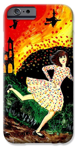 Illustrations Ceramics iPhone Cases - Escape from the burning house iPhone Case by Sushila Burgess